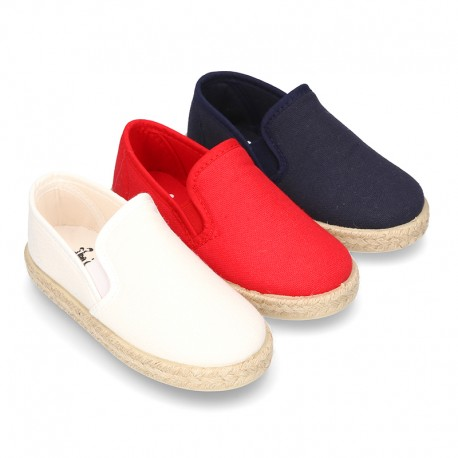 Cotton canvas SLIP ON Espadrille shoes with elastic bands for kids.