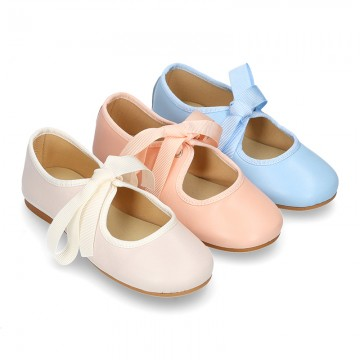 New SOFT nappa leather little Mary Jane shoes angel style in pastel colors.