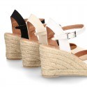 Cotton canvas wedge espadrille sandal shoes.