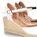 Cotton canvas women wedge espadrille sandal shoes.