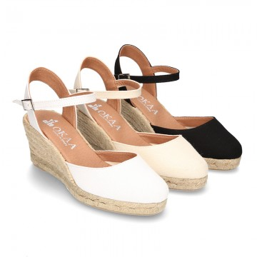 b178afa3855 Cotton canvas wedge espadrille sandal shoes.