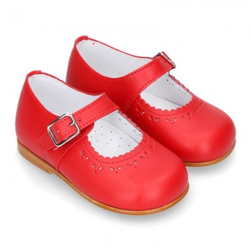 Classic RED nappa leather little Mary Janes with perforated flower design.