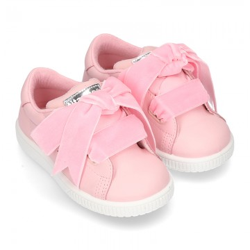 New FASHION pink Nappa leather Tennis shoes TIES closure.