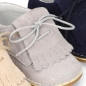 Little Classic Oxford style shoes with fringed design and flexible soles in suede leather for SPRING.