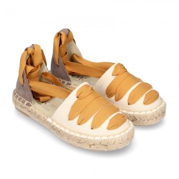 Cotton leather espadrilles shoes GOYESCA style.