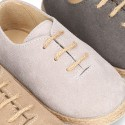 Suede leather Laces up style espadrille shoes.