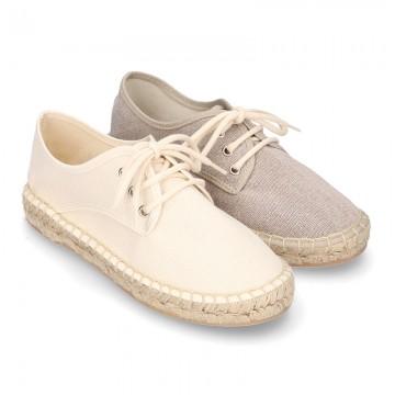 Cotton canvas Laces up espadrille shoes.