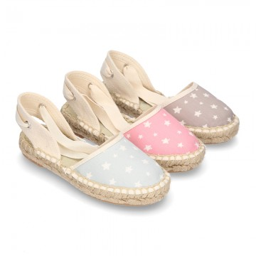 Cotton canvas espadrilles shoes Valenciana style with STARS print.