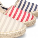 Cotton canvas espadrilles shoes Valenciana style with STRIPES print.