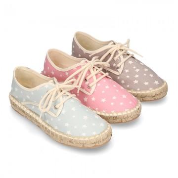 Cotton canvas Laces up espadrille shoes with STARS print.