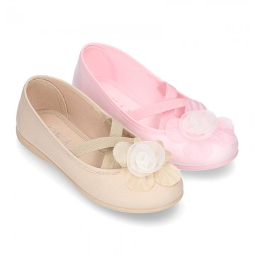 New ballet flats dancer style with elastic crossed bands and FLOWER design.