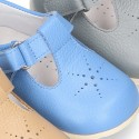 New Nappa Leather T-strap shoes with velcro strap closure.