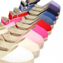 Cotton Canvas sandal espadrilles style with buckle fastening.