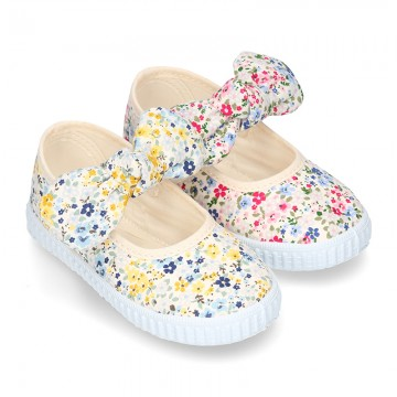 Cotton canvas Little Mary Janes with velcro strap and FLOWER print.