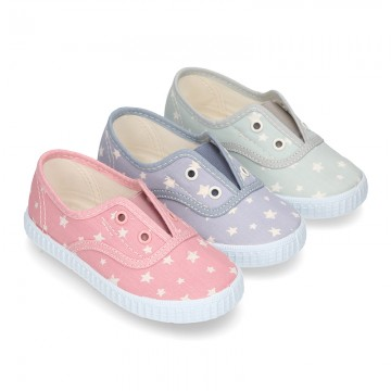 Cotton Canvas bamba shoes with elastic band and STARS print in pastel colors.