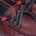 Depp red leather Moccasin shoes NAUTICAL style with bows.