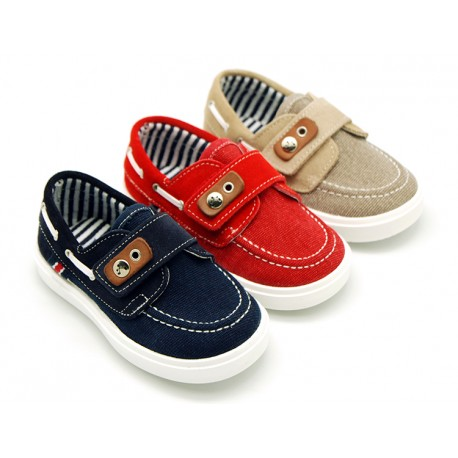 Combined cotton leather Nautical sneaker shoes with velcro strap.