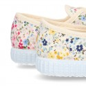 Cotton canvas Bamba shoes with FLOWER design.