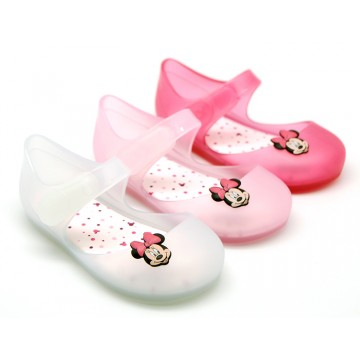 Jelly shoes ballet flat style with MINNIE design.