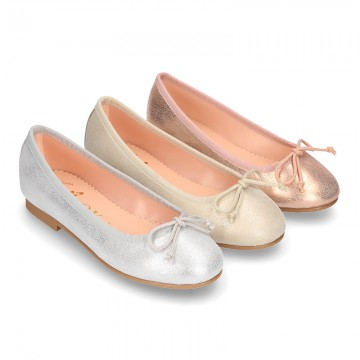 New METAL Soft suede leather ballet flats with adjustable ribbon.