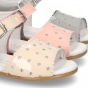 New patent leather sandals with STARS design for little girls.