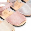 SHINNY leather kids Menorquina sandal shoes with hook and loop strap.