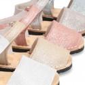 Menorquina Velcro piso Flexible en Piel Napa con BRILLOS.