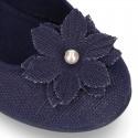 Mercedita con hebilla con flor en LINO.