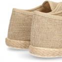 Zapato tipo Bamba en LINO con cordones y suela alpargata.