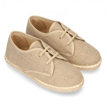NATURAL LINEN canvas Bamba espadrille type shoes.