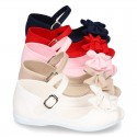 Cotton canvas little Mary Jane shoes SANDAL style with buckle fastening and ribbon..