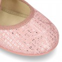 Cotton canvas Ballet flat shoes Angel style with shiny effects.
