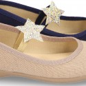 Special cotton canvas Ballet flat shoes with STAR design.