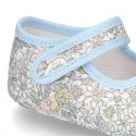 Cotton canvas little Mary jane shoes with velcro strap and FLOWER print for babies.