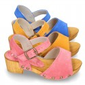 Suede Leather wooden Sandal shoes for girls.