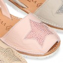 New Soft leather Menorquina Sandal shoes with rear strap and STAR design.
