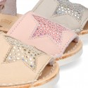 Menorquina sandals with STAR design and hook and loop strap.