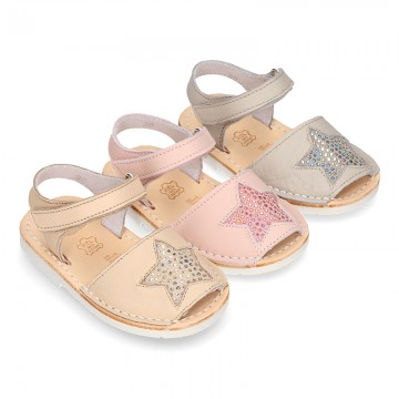 New Menorquina sandals with STAR design and velcro strap.