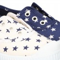 Cotton Canvas sneakers with STARS print, elastic bands and rubber toe cap.