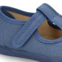 New Cotton canvas T-Strap shoes with toe cap and velcro strap.