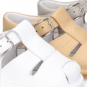 New Soft nappa leather sandals T-strap style for baby boys with design semi closed.