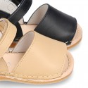 Baby Menorquina sandal shoes with hook and loop strap in nappa leather.