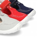 New combined sandal shoes BOAT SHOES style with velcro strap, toe cap and counter.