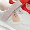 Nueva sandalia combinada tipo Náutico en lona serraje con velcro.
