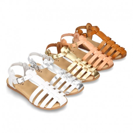 Cowhide leather sandal shoes jelly type design.