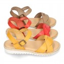 New Cowhide leather Braided sandal shoes for toddler girls.