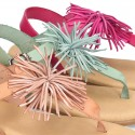 New Cowhide leather sandal shoes with POMPON design for toddler girls.
