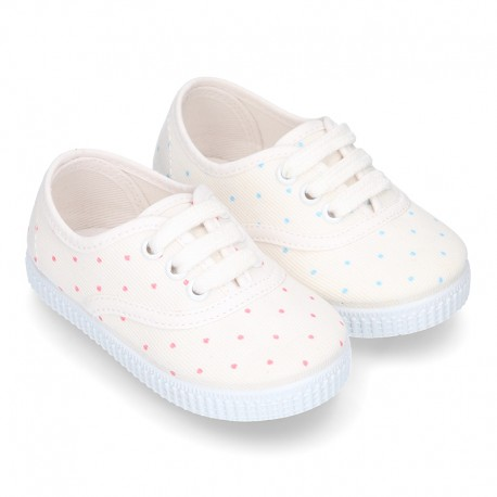 Cotton Canvas bamba type shoes with sweet little dots print.