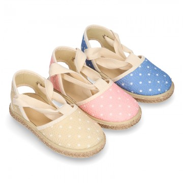 Laces Cotton Canvas Valenciana style espadrille shoes with little dots.