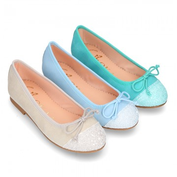 New GLITTER Soft suede leather ballet flats with adjustable ribbon.